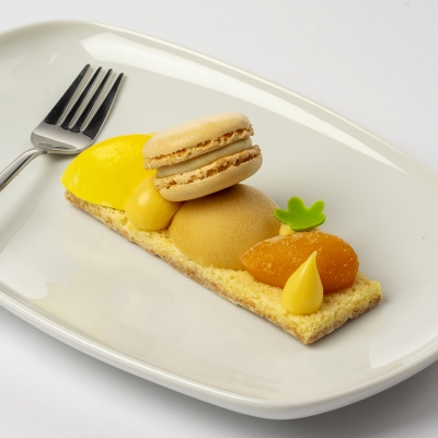 lentetaartje van abrikoos, macaron vanille, grote canelle van passievrucht, kleine canelle abrikoos, nougat bombe