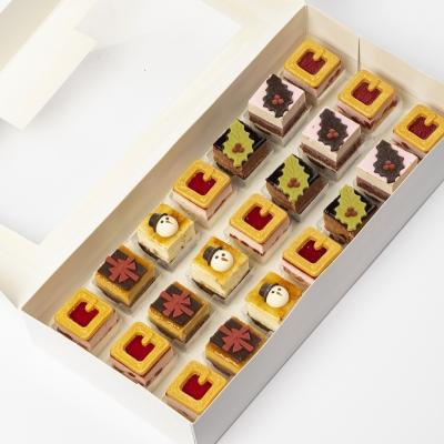 petit four kerst: aardbei, framboos licht kastanje, chocolade hazelnoot, appel karamel