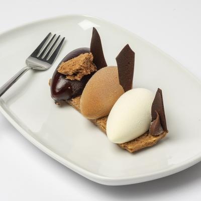 trio chocolade bavarois met een biscuitbodem